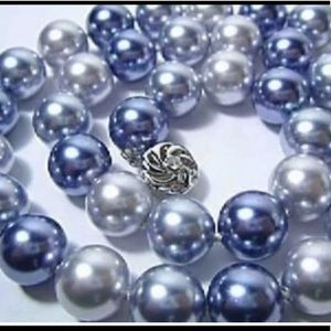 Navy/Gray/Gray 10MM Shell Pearl Necklace/Earring